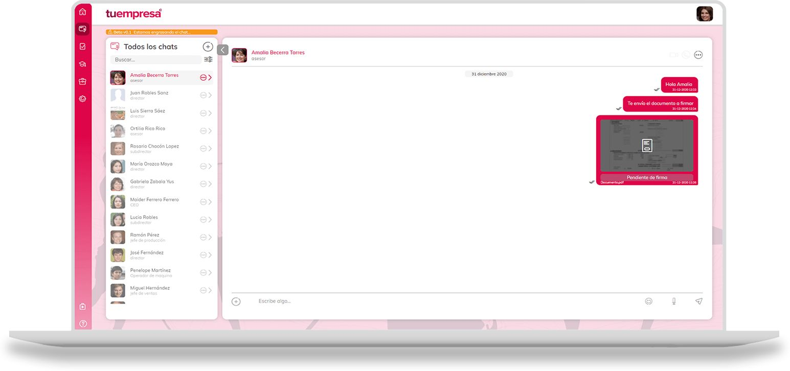 Chat para comunicación corporativa interna en la empresa